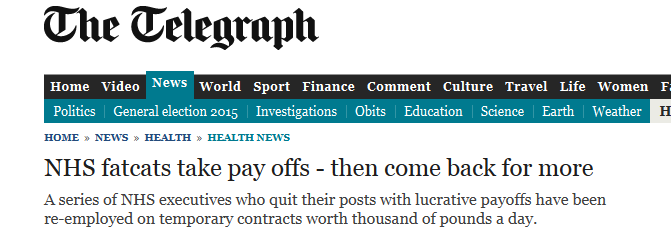 Sunday Telegraph - NHS fatcats take pay off - them come back for more