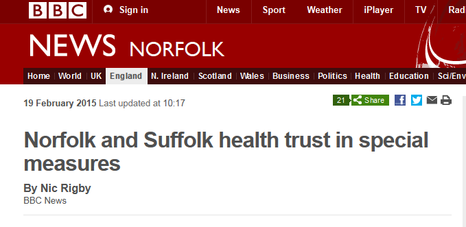 BBC News Norfolk and Suffolk health trust in special measures