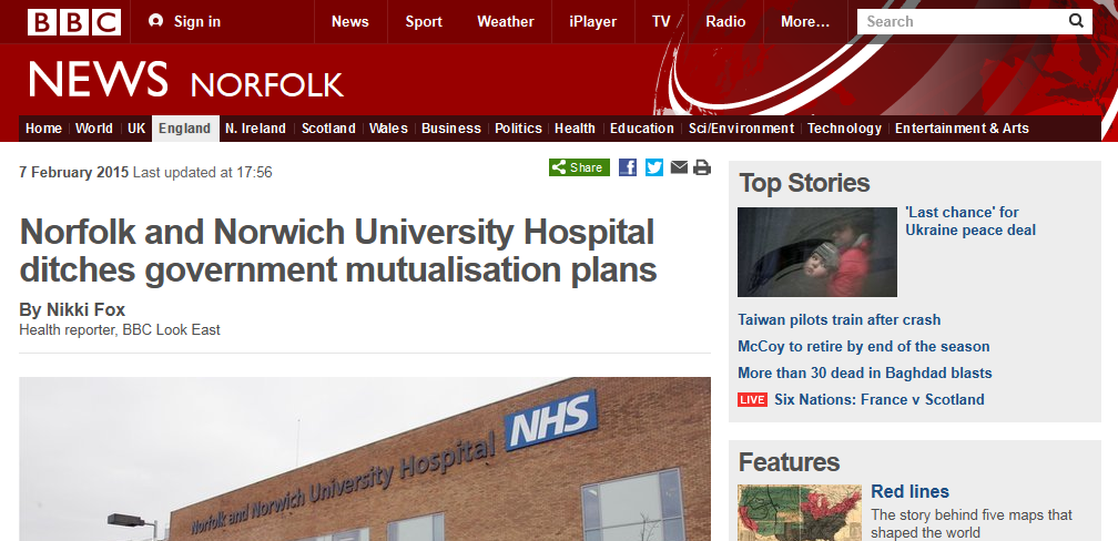 BBC Norfolk and Norwich University Hospital ditches government mutualisation plans