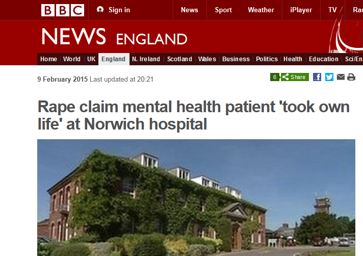 BBC Rape claim mental health patient 'took own life' at Norwich hospital