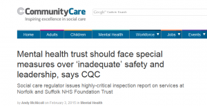 Community Care: Mental health trust should face special measures over 'inadequate' safety and leadership, says CQC