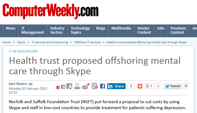 Computer Weekly Health trust proposed offshoring mental care through Skype