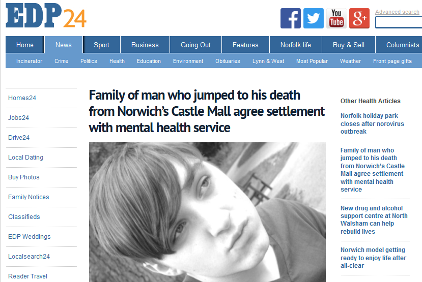 EDP Family of man who jumped to his death from Norwich's Castle Mall agree settlement with mental health service