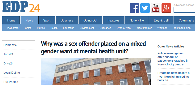 EDP Why was a sex offender placed on a mixed gender ward at mental health unit