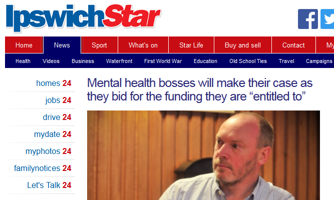 Ipswich Star Mental health bosses will make their case as they bid for the funding they are entitled to