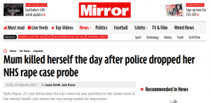 Mirror: Mum killed herself the day after police dropped her NHS rape case probe