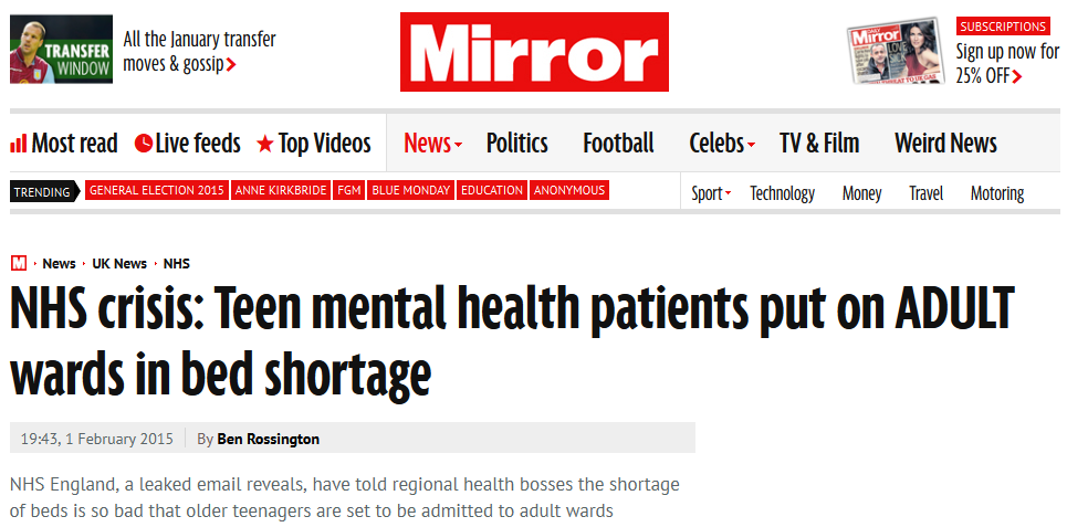 Mirror NHS crisis Teen mental health patients put on ADULT wards in bed shortage