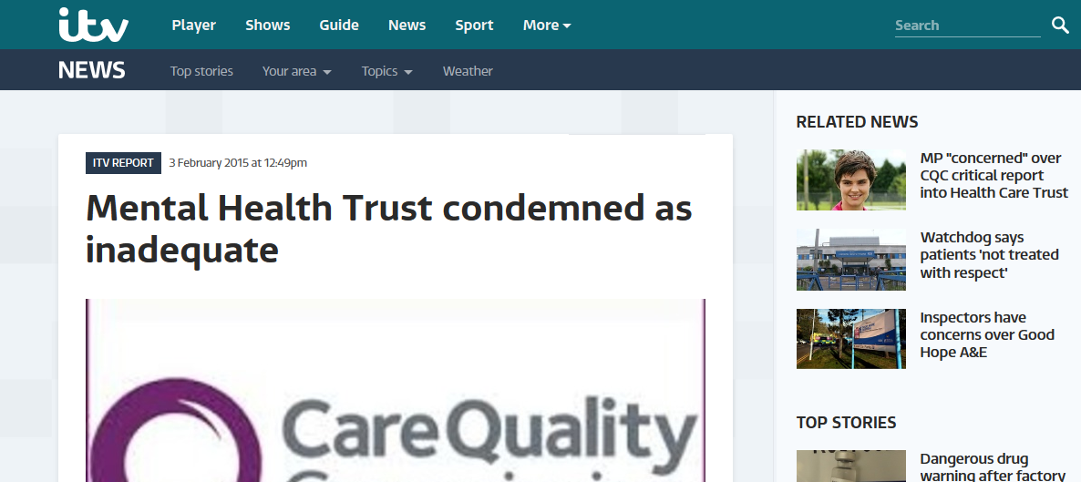 itv NEWS Anglia Mental Health Trust condemned as inadequate