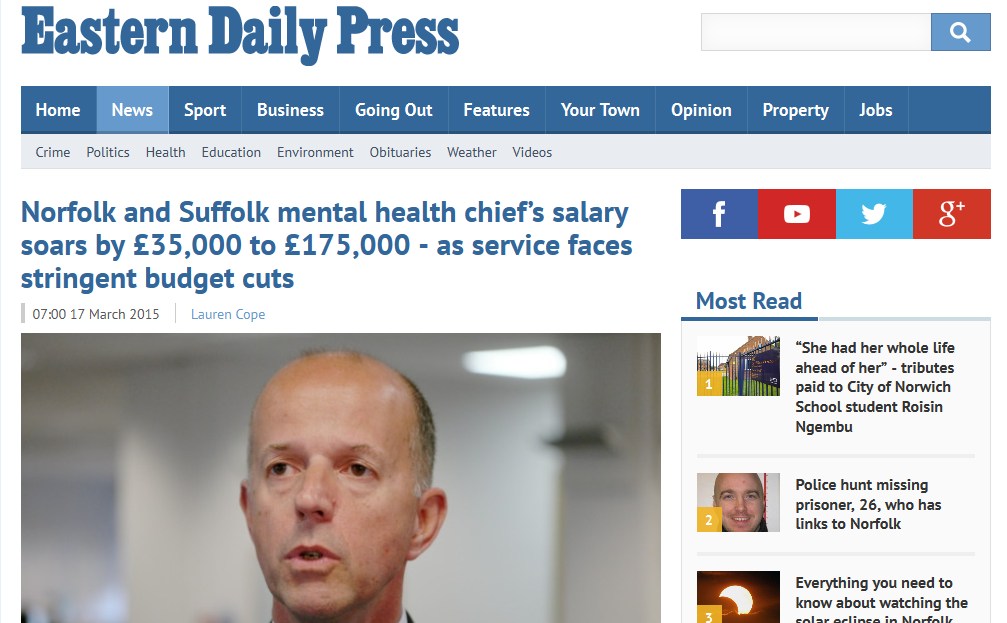 EDP Norfolk and Suffolk mental health chief's salary soars by £35,000 to £175,000 - as service faces stringent budget cuts