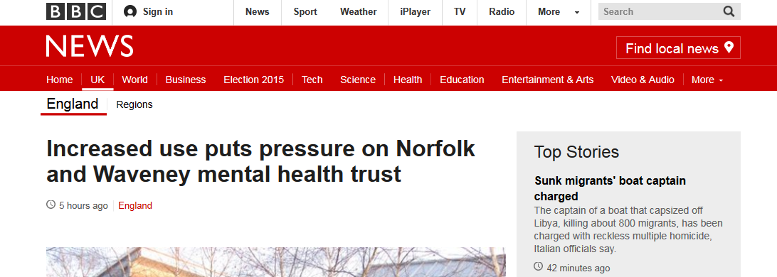 BBC News Increased use puts pressure on Norfolk and Waveney mental health trust