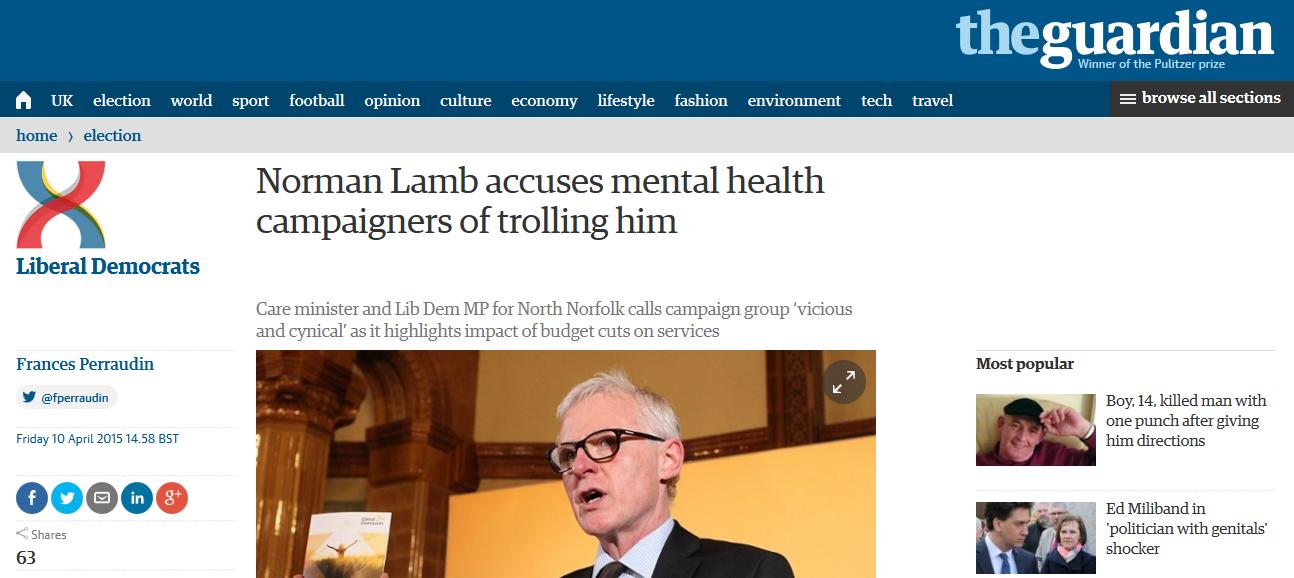Guardian Norman Lamb accuses mental health campaigners of trolling him