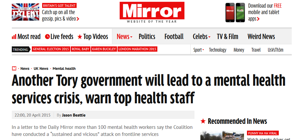Mirror Another Tory government will lead to a mental health services crisis, warn top health staff