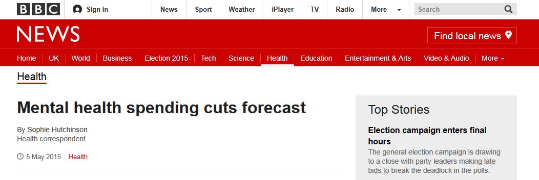 BBC News Mental health spending cuts forecast