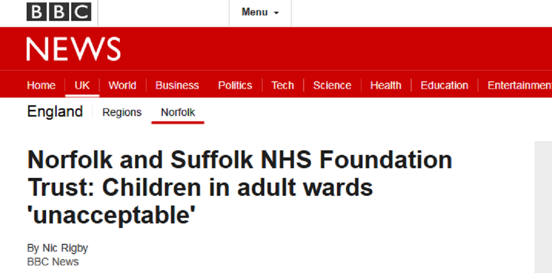 BBC News Norfolk and Suffolk NHS Foundation Trust Children in adult wards 'unacceptable'