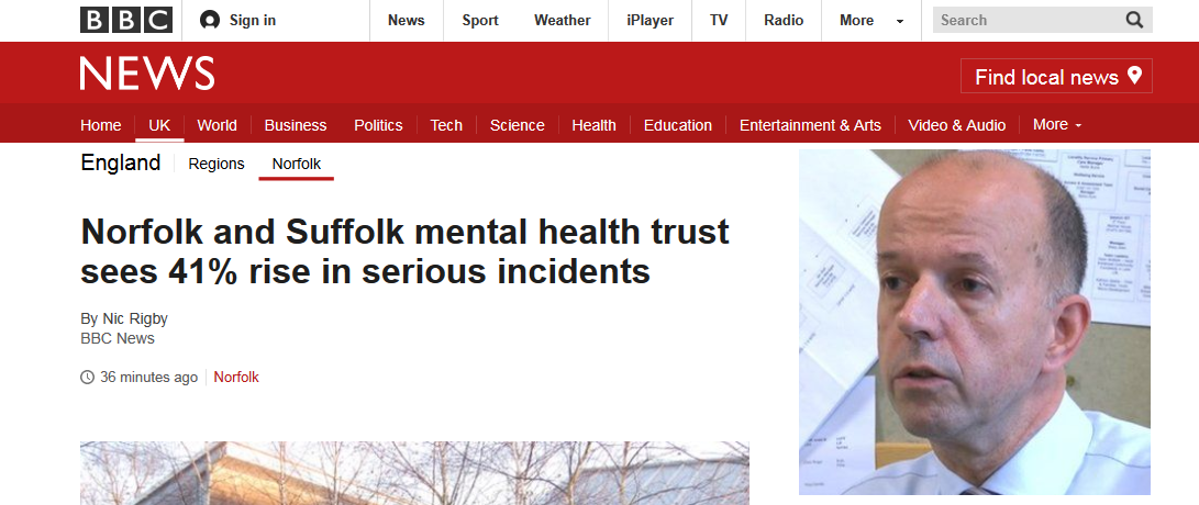 BBC News Norfolk and Suffolk mental health trust sees 41pc rise in serious incidents