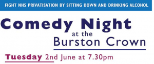 Tuesday 2nd June: Comedy Event at the Burston Crown IP22 5TW at 7.30 p.m.