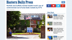 EDP: Norfolk and Suffolk mental health trust's use of controversial out of area beds rockets by 87%