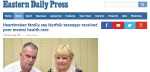 EDP: Heartbroken family say Norfolk teenager received poor mental health care
