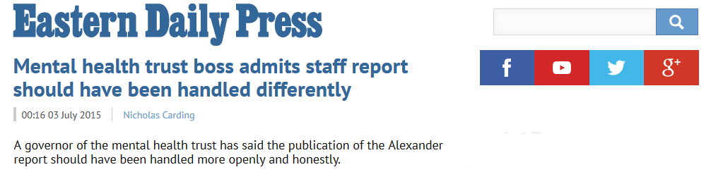 EDP Mental health trust boss admits staff report should have been handled differently