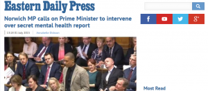 EDP: Norwich MP calls on Prime Minister to intervene over secret mental health report