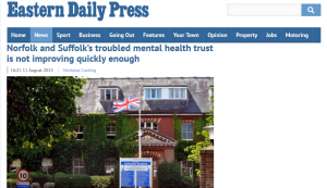 EDP: Norfolk and Suffolk's troubled mental health trust is not improving quickly enough