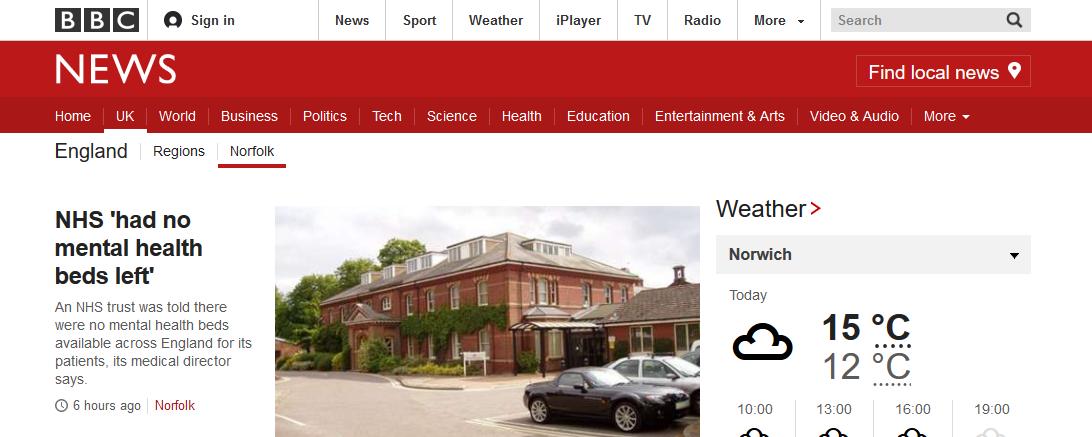 BBC News NHS 'had no mental health beds left'