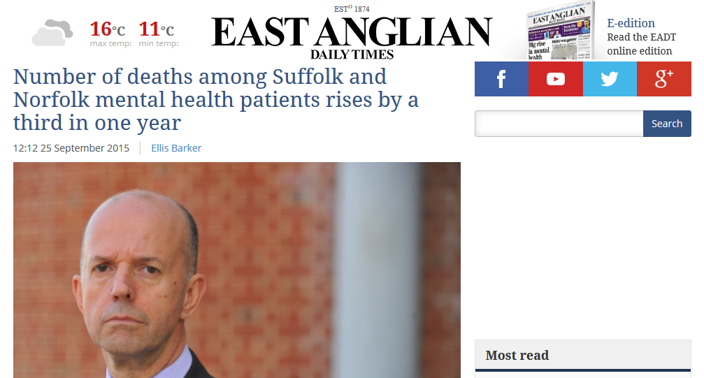 EADT Number of deaths among Suffolk and Norfolk mental health patients rises by a third in one year