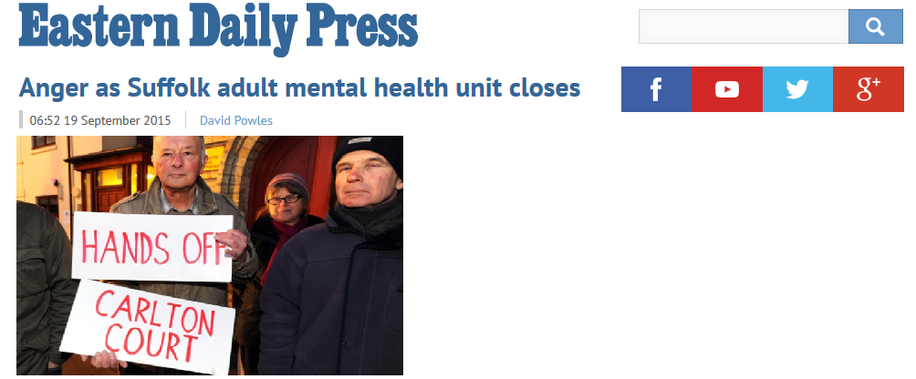EDP Anger as Suffolk adult mental health unit closes