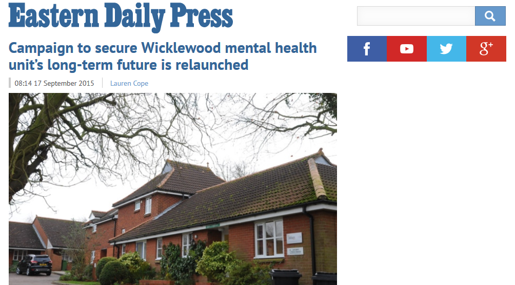 EDP Campaign to secure Wicklewood mental health unit's long-term future is relaunched