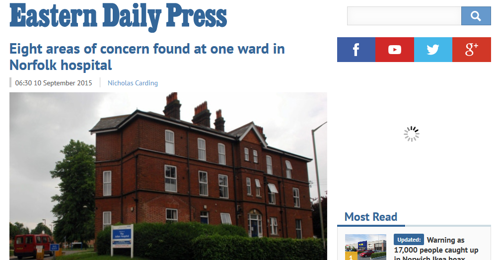 EDP Eight areas of concern found at one ward in Norfolk hospital
