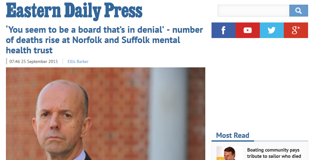 EDP You seem to be a board that's in denial - number of deaths rise at Norfolk and Suffolk mental health trust