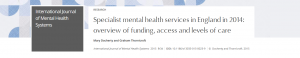 Research: Specialist mental health services in England in 2014: overview of funding, access and levels of care
