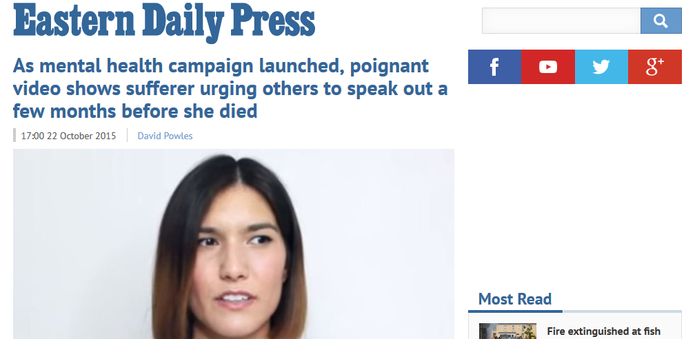 EDP As mental health campaign launched, poignant video shows sufferer urging others to speak out a few months before she died