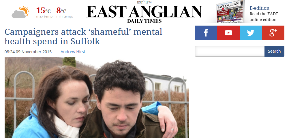 EADT Campaigners attack 'shameful' mental health spend in Suffolk