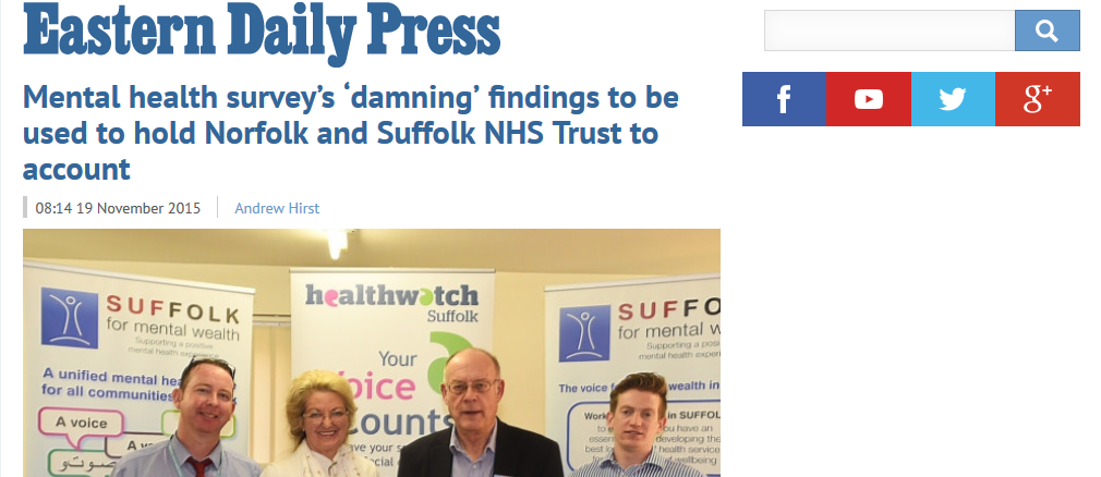 EDP Mental health surveys damning findings to be used to hold Norfolk and Suffolk NHS Trust to account