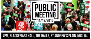 Public Meeting: We are among speakers at Blackfriars Hall, Norwich NR3 1AU at 7 p.m. on Friday 11th December