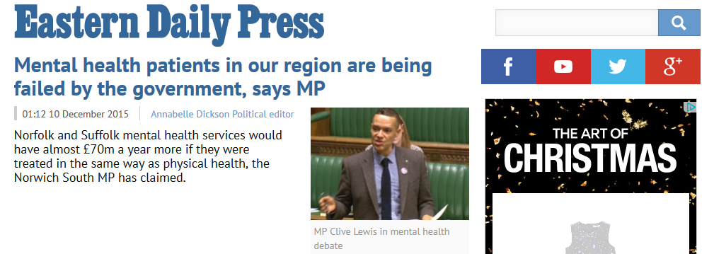 EDP Mental health patients in our region are being failed by the government says MP