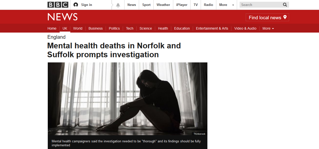 BBC News Mental health deaths in Norfolk and Suffolk prompts investigation