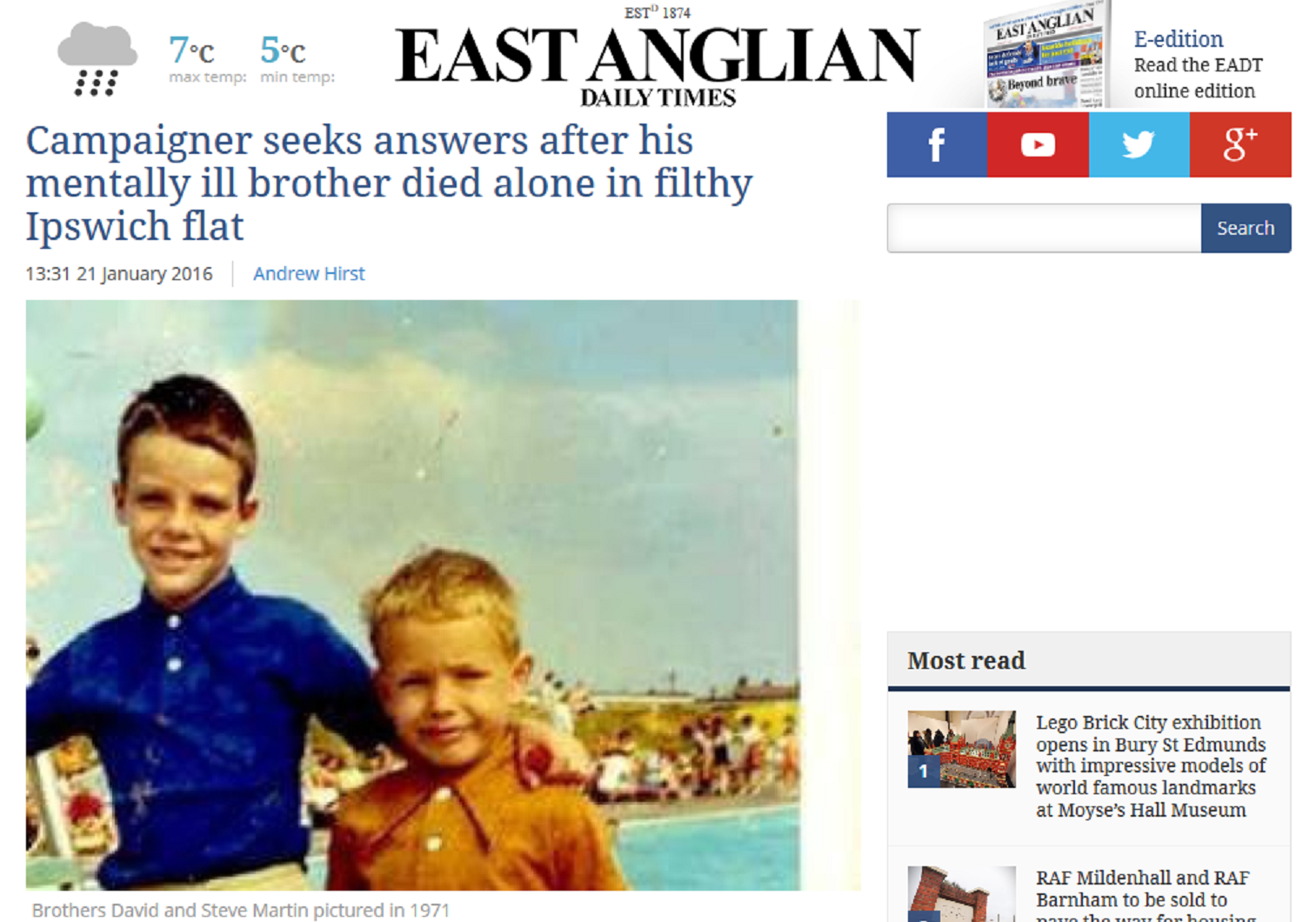 EADT Campaigner seeks answers after his mentally ill brother died alone in filthy Ipswich flat