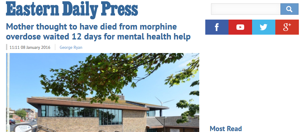 EDP Mother thought to have died from morphine overdose waited 12 days for mental health help