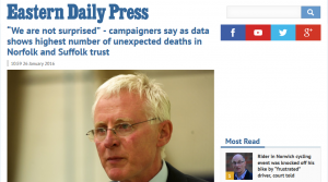 """EDP: """"We are not surprised"""" - campaigners say as data shows highest number of unexpected deaths in Norfolk and Suffolk trust"""