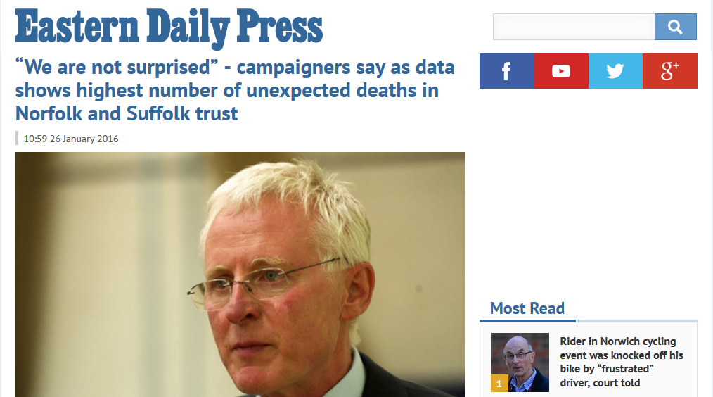 EDP We are not surprised - campaigners say as data shows highest number of unexpected deaths in Norfolk and Suffolk trust