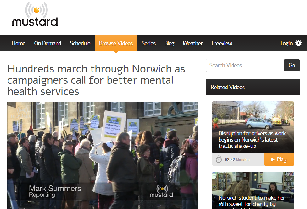 Mustard TV Hundreds march through Norwich as campaigners call for better mental health services