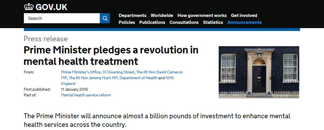Prime Minister pledges a revolution in mental health treatment