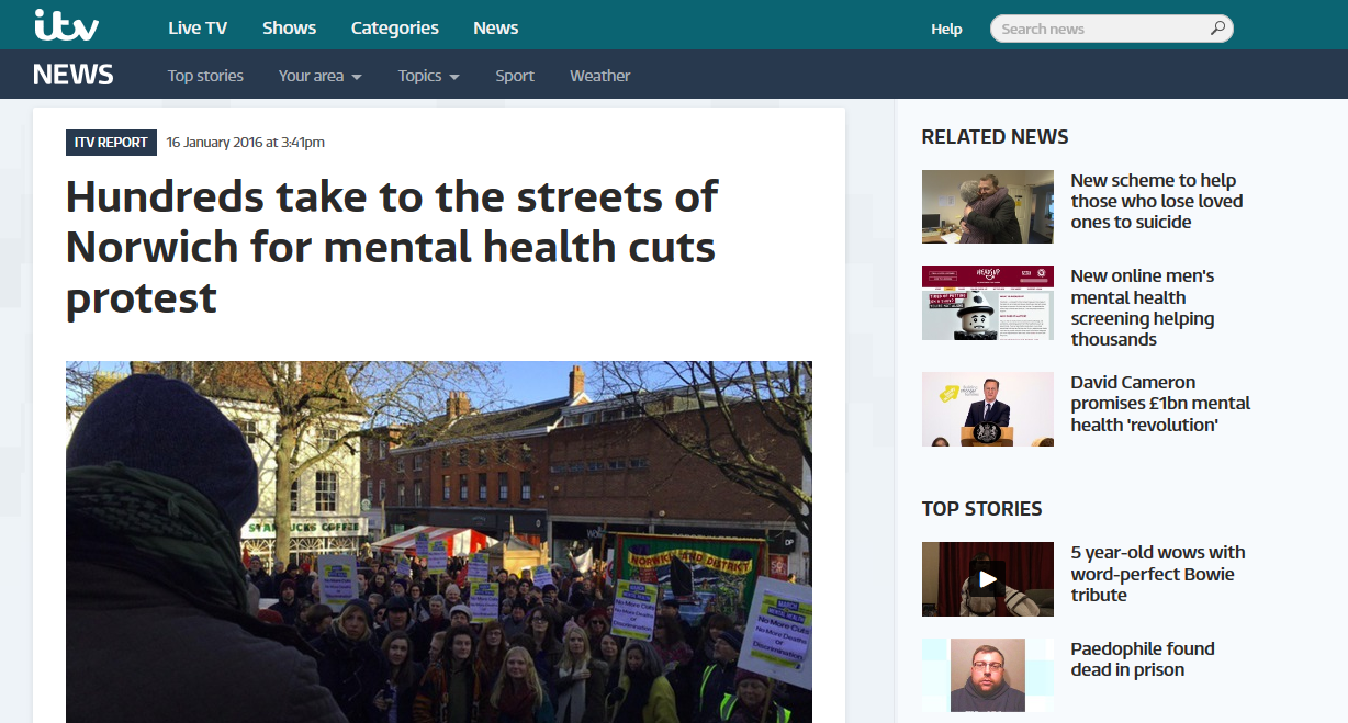 itv NEWS Anglia Hundreds take to the streets of Norwich for mental health cuts protest