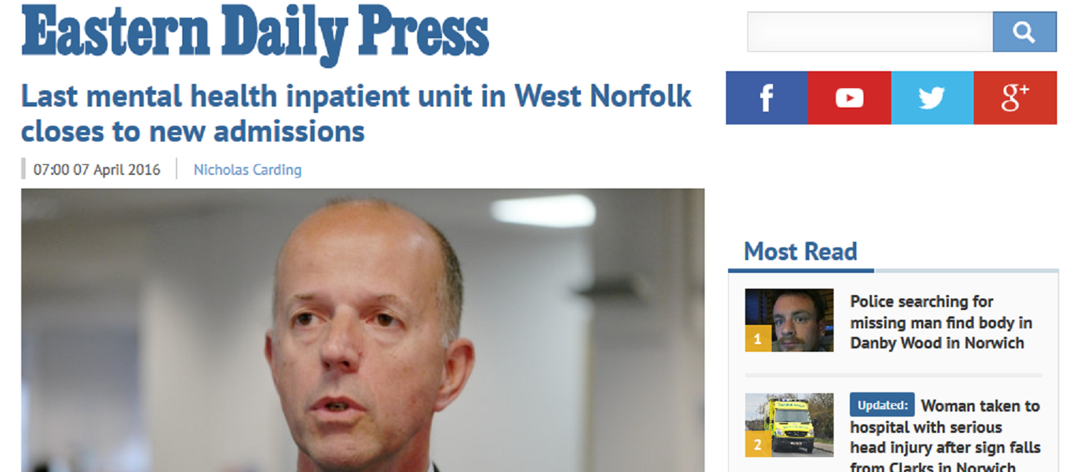 EDP Last mental health inpatient unit in West Norfolk closes to new admissions