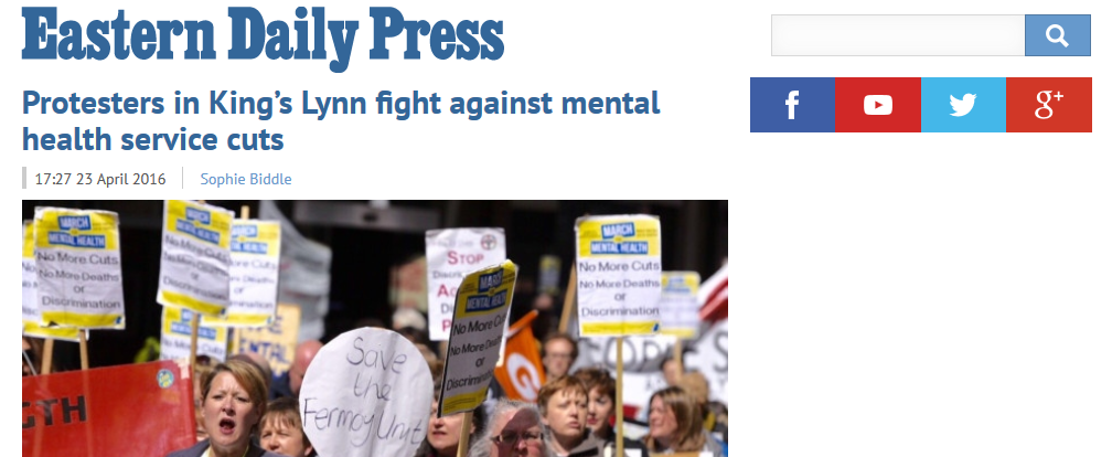 EDP Protesters in Kings Lynn fight against mental health service cuts