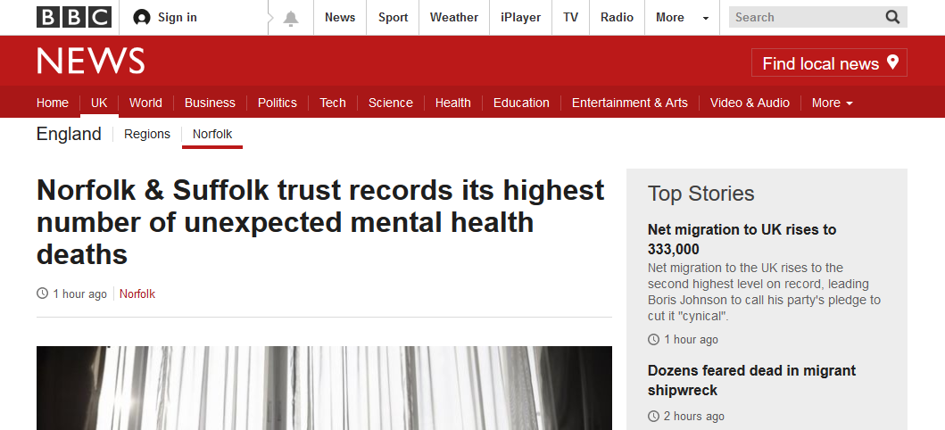 BBC News Norfolk and Suffolk trust records its highest number of unexpected mental health deaths