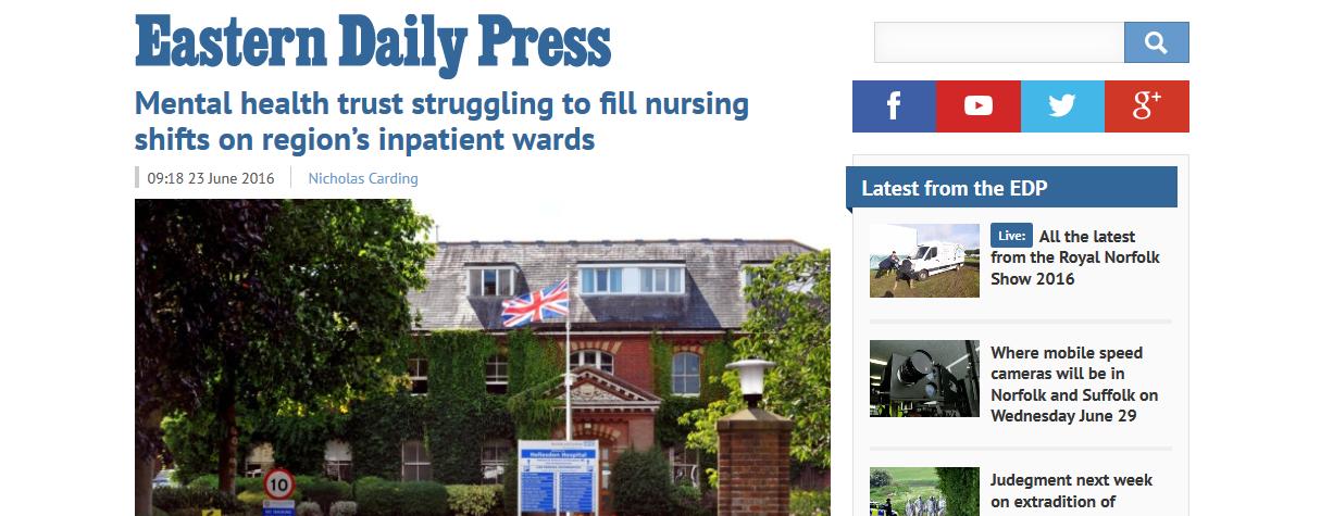 EDP Mental health trust struggling to fill nursing shifts on regions inpatient wards