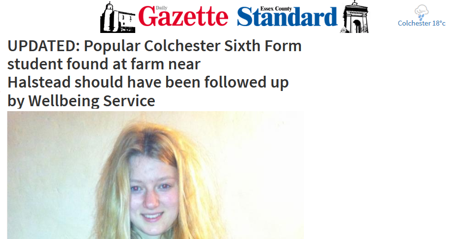 UPDATED Popular Colchester Sixth Form student should have been followed up by Wellbeing Service edit